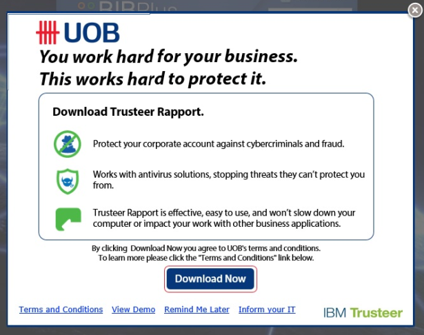 Pop Up IBM Trusteer Rapport